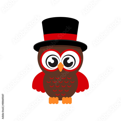 cartoon cute owl in hat