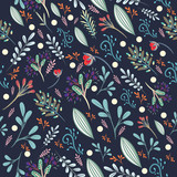 Floral cute pattern with colorful rustic pastel flowers - 188673202