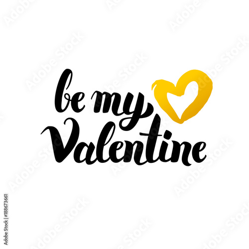 Be My Valentine Handwritten Lettering Poster