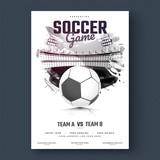 Soccer game flyer or poster design, black and white design. - 188673880