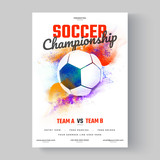 Soccer ball, soccer championship flyer or poster design on colorful background. - 188674019