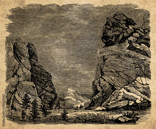 Foto op Aluminium Beige Landscape with rocks - vintage engraving illustration