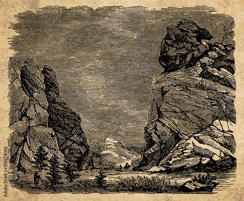 Staande foto Beige Landscape with rocks - vintage engraving illustration