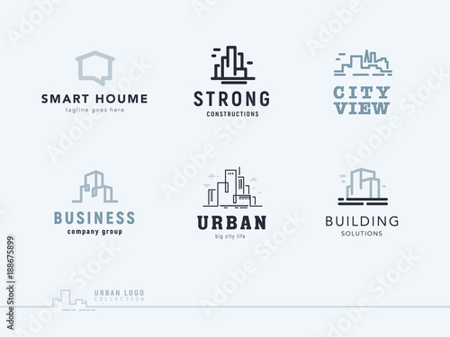 Vector flat construction company brand design templates collection. Building, business company and architect bureau insignia, logo illustration isolated on white background. Line art. - 188675899