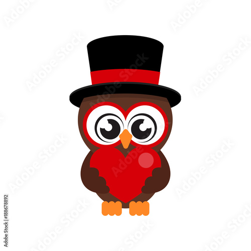 cartoon cute owl in hat with heart