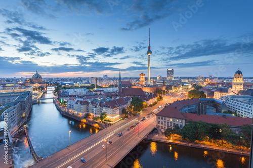 Berlin skyline with Spree river in twilight, Germany