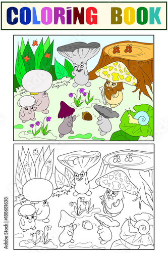 Family of mushrooms in the forest coloring book for children cartoon illustration. White, black and color - 188681638