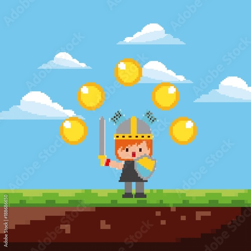 Fotobehang Pool pixel game knight character gold coins and landscape vector illustration