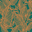 Seamless pattern of exotic flowers. Strelitzia. Summer. Wallpaper of tropical plants. - 188688277