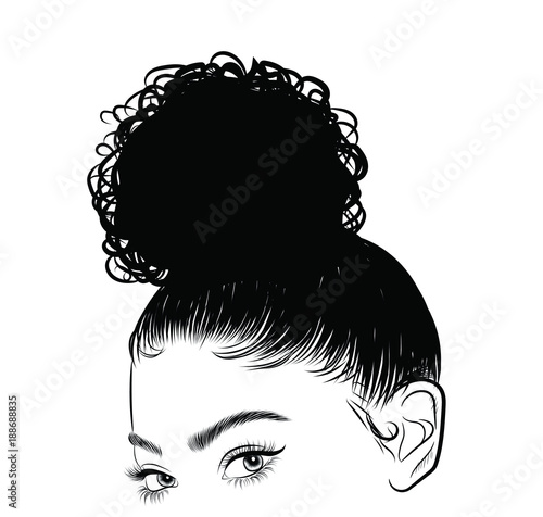 Hand Drawn Black Woman With Curly Luxurious Hair Girl With Perfectly