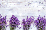 Bunch of dry lavender flowers on rustic background top view mock - 188691240