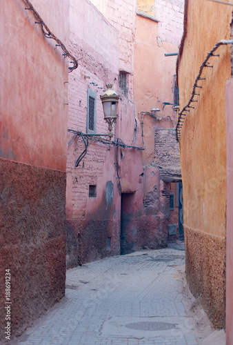 Papiers peints Maroc Old streets of Marrakech medina district in Morocco