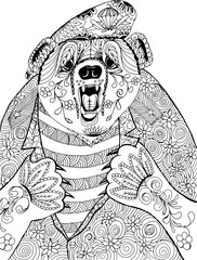 Bear tears on the chest of the uniforms. Freehand sketch drawing for adult antistress coloring book