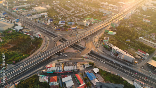 Fridge magnet Aerial view, Road roundabout, Expressway with car lots in the city in Thailand.  beautiful Street , downtown, cityscape, Top view. Background