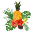 Pineapple, hibiscus flowers and tropical leaves.