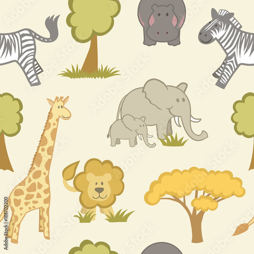Fototapeta Safari Animal Themed Repeat Pattern