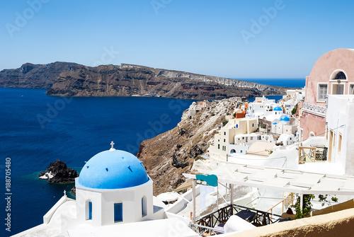 Blue roof church on Santorini island in Greece