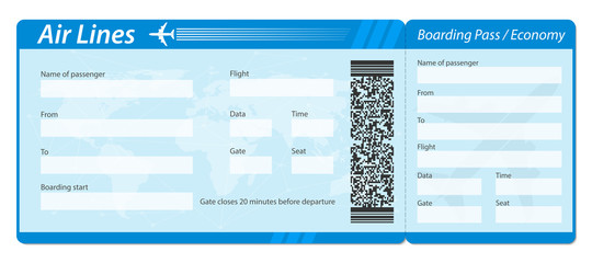 Creative vector illustration of airline boarding pass ticket isolated on transparent background. Art design for traveling by plane. Abstract concept graphic barcode QR2 code element.