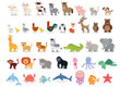 Cute animals collection: farm animals, wild animals, marina animals isolated on white background. Illustration design template