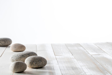 grey pebbles for meditation, mindfulness, mineral spa or white emptiness © STUDIO GRAND OUEST