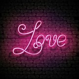 Vintage Glow Signboard with Love Inscription. Valentine's Day Greeting Card Template. Shiny Neon Light Style Lettering. Holiday Flyer, Banner, Label. Vector 3d Illustration. Abstract Decorative Art