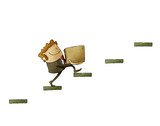 businessman with a box is climbing a few steps. concept of rise to success. isolated