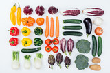 Fresh tasty vegetables on white background - 188723251