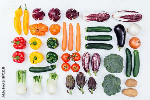Fresh tasty vegetables on white background - 188723251