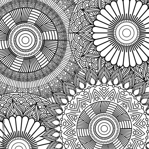 Fotobehang Abstractie seamless pattern floral abstract vintage decorative element background adult coloring vector illustration