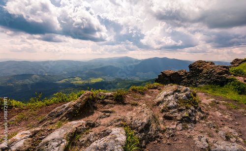 view from a cliff in to the valley. gorgeous landscape of Carpathian mountains - 188729871
