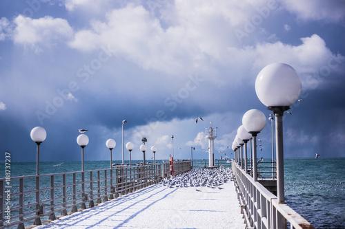 Winter landscape.  pier and frozen