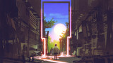 young boy standing in abandoned city looking at the magic gate with beautiful place, digital art style, illustration painting - 188747640
