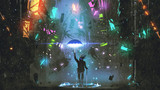 sci-fi scene showing the man holding a magic umbrella destroying futuristic city, digital art style, illustration painting - 188747641