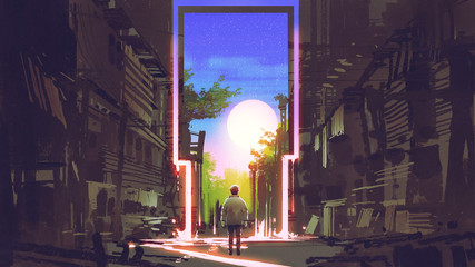 young boy standing in abandoned city looking at the magic gate with beautiful place, digital art style, illustration painting © grandfailure