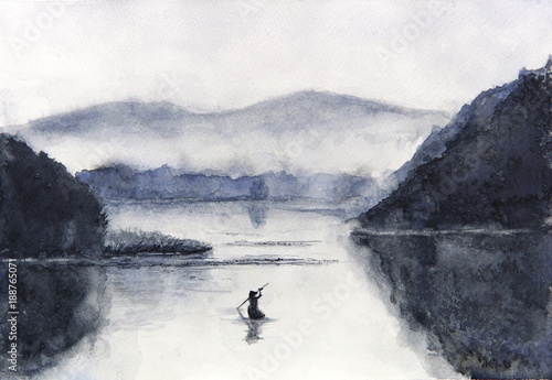 Watercolor Fishing boat and island with mountains. Traditional oriental. asia art style © atichat