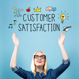 Customer Satisfaction with young woman reaching and looking upwards - 188765243