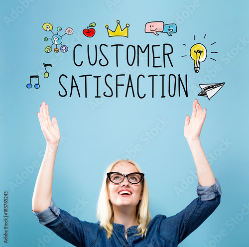 Customer Satisfaction with young woman reaching and looking upwards