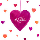 Greeting Card happy Valentine's day love. Holiday background on February 14 with watercolor hearts and lettering. Romantic banner painted with brush