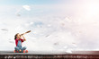 Concept of careless happy childhood with girl exploring this world