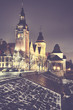 Szczecin (Stettin) City at night, vintage toned picture, Poland. - 188786622