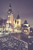 Szczecin (Stettin) City at night, vintage toned picture, Poland.
