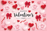 Happy Valentine's Day poster with 3D hearts, roses and ribbons - 188787046