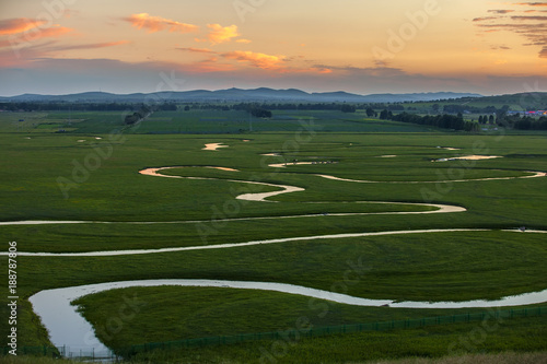 Foto Murales The river on the grassland