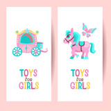 Toys for girls. Vector clipart. The carriage for the Princess. Cute pink horse. Beautiful butterfly. Isolated on a white background.