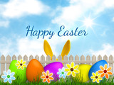a easter graphic with happy easter