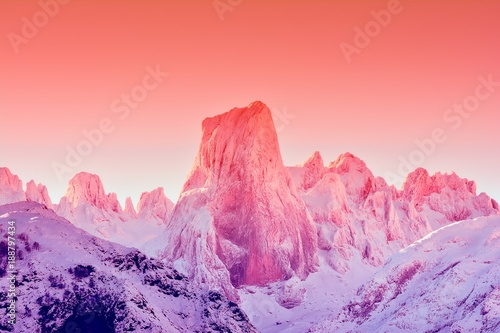 Fotobehang Lichtroze Naranjo de Bulnes at dawn in Picos de Europa.