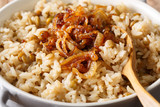 Arab food: Mujaddara from rice and lentils with caramelized onion close-up. horizontal - 188798240