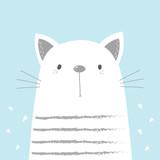 Hand Drawn cute Funny Cartoon cat. vector print