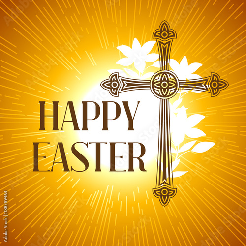 Foto op Canvas Bedehuis Silhouette of ornate cross. Happy Easter concept illustration or greeting card. Religious symbol of faith against sun lights