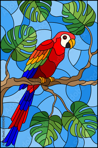 illustration-in-stained-glass-style-bird-parakeet-on-branch-tropical-tree-against-the-sky